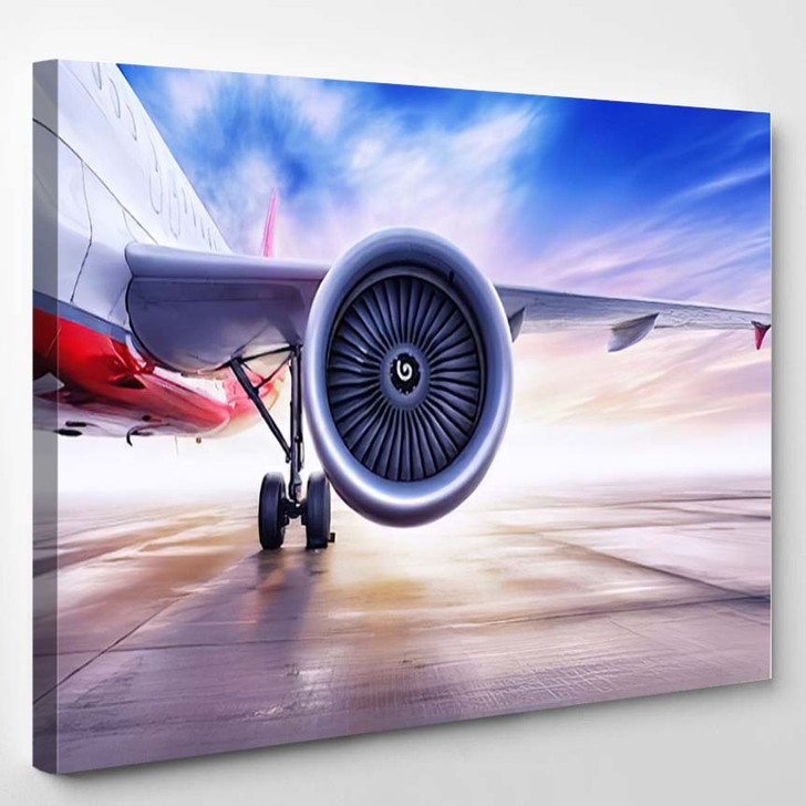 Airliner On Airfield - Airplane Airport Canvas Art Print
