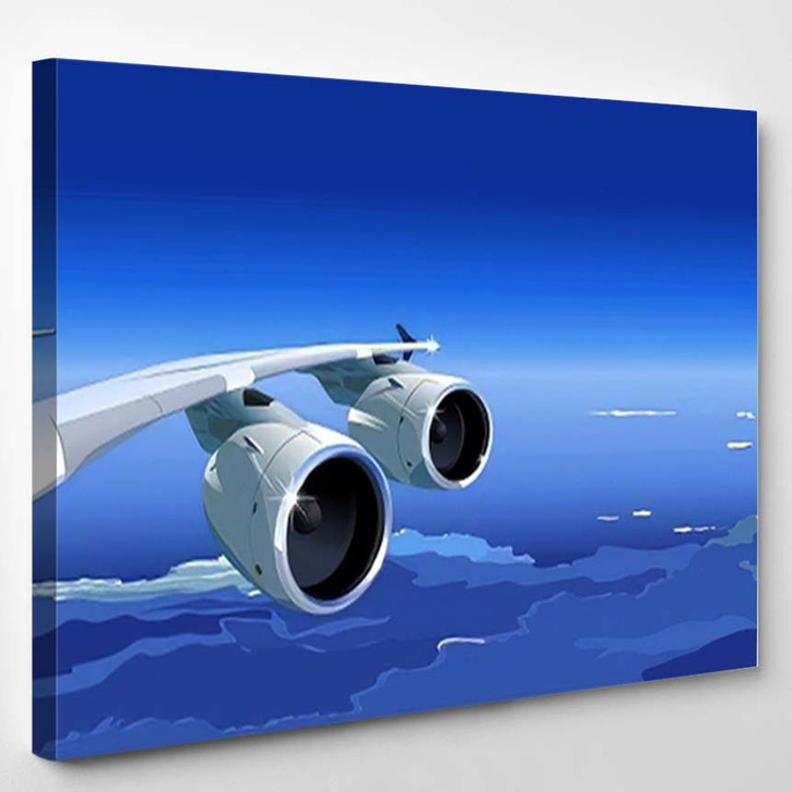 Airlinert Sky Vector Version See My - Airplane Airport Canvas Art Print