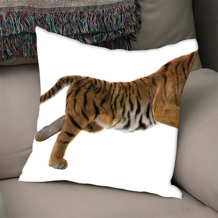 3D Digital Render Hunting Big Cat - White Tiger Animals Throw Pillow