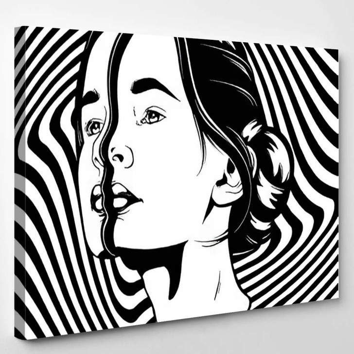Vector Hand Drawn Illustration Young Beautiful - Psychedelic Canvas Art Print