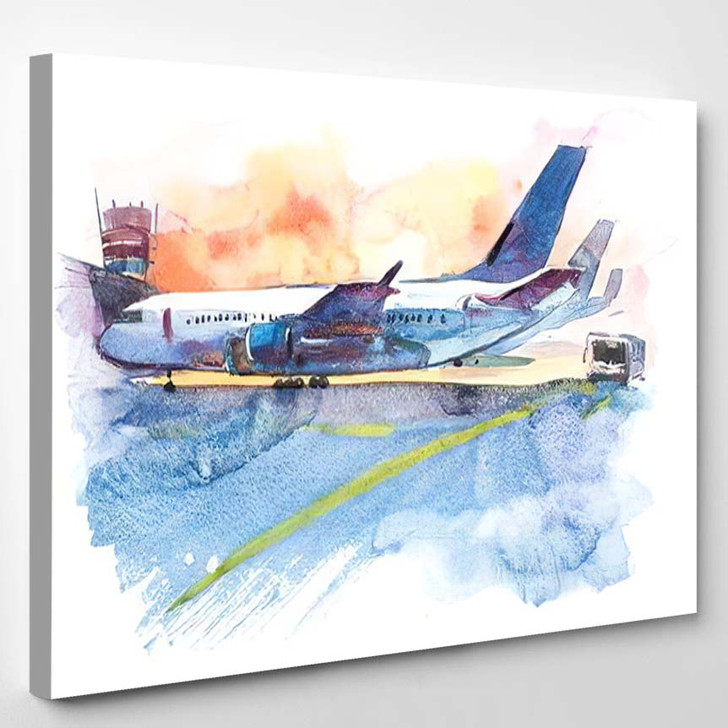 Airplane Airport On Takeoff Field Watercolor - Airplane Airport Canvas Art Print