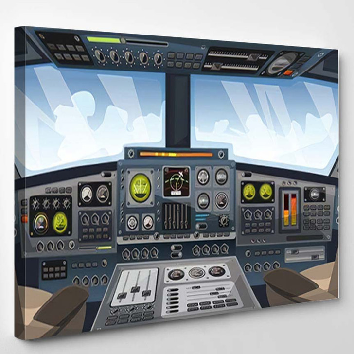 Airplane Cockpit View Control Panel Buttons - Airplane Airport Canvas Art Print