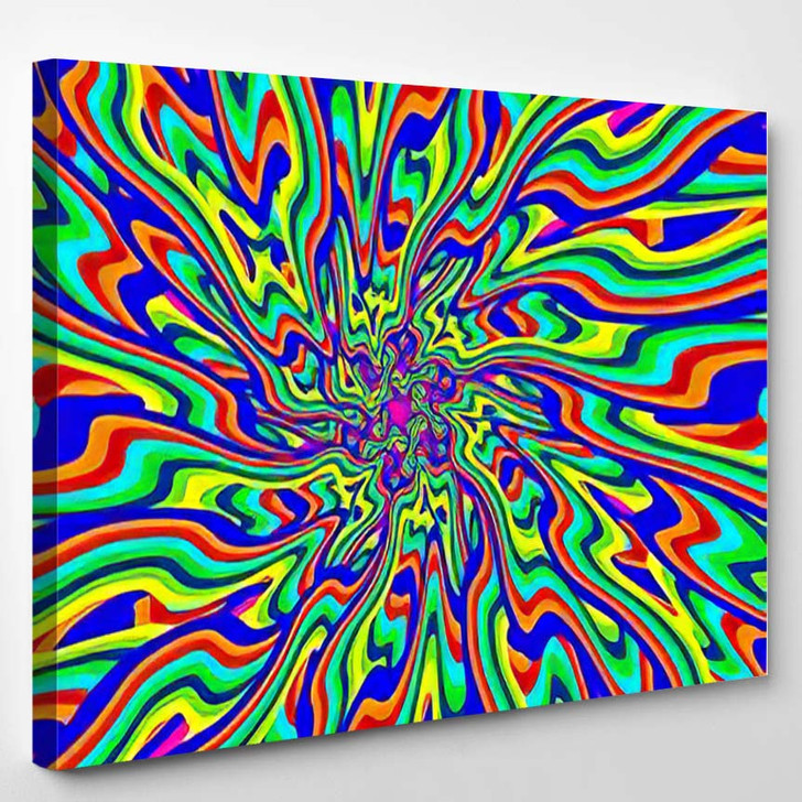 Vivid Abstract Colorful Psychedelic Background Made 2 - Psychedelic Canvas Art Print