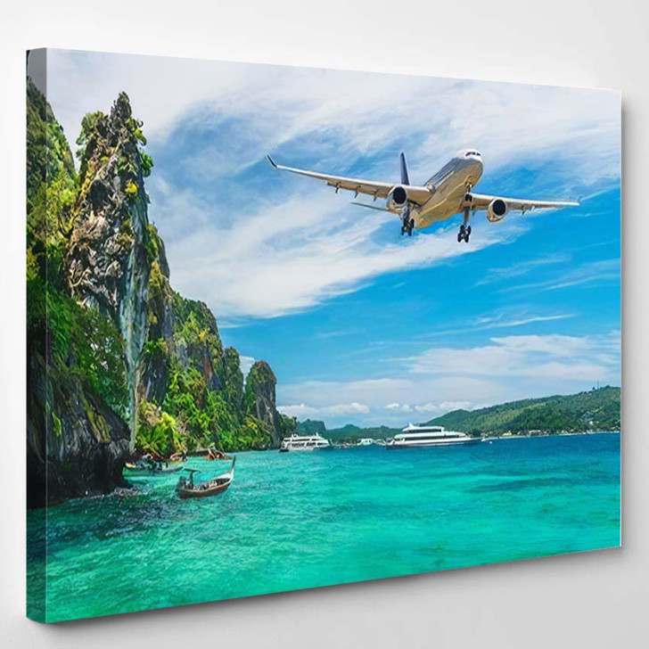 Airplane Fly Above Beautiful Nature Landscape 1 - Airplane Airport Canvas Art Print