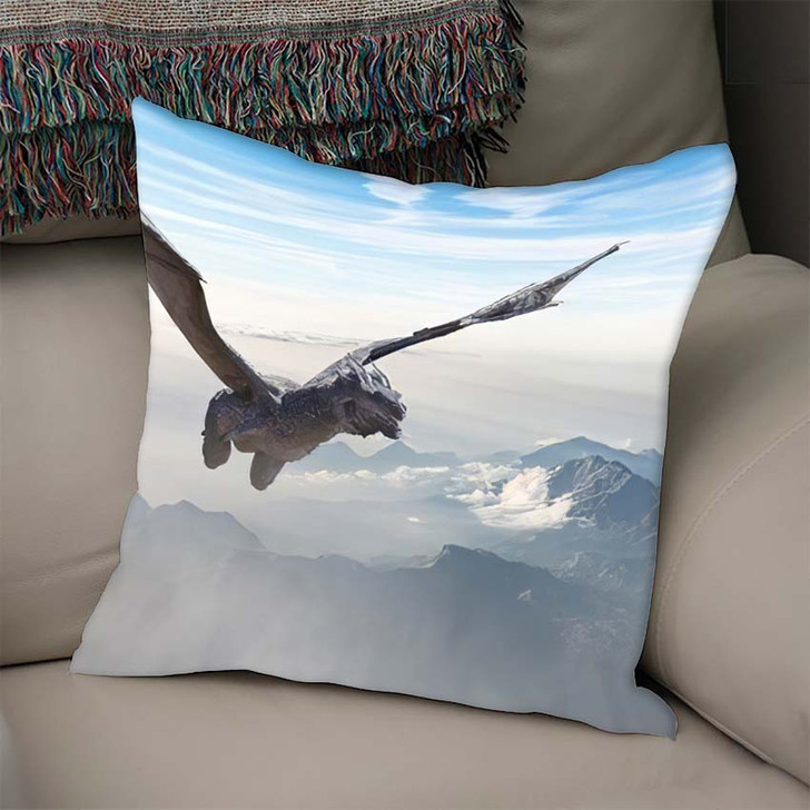 3D Illustration Dragon Fly Render - Dragon Animals Throw Pillow