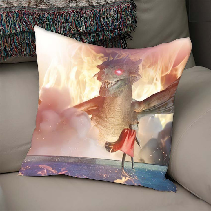 3D Illustration Fantastic Dragon Versus Man - Dragon Animals Throw Pillow