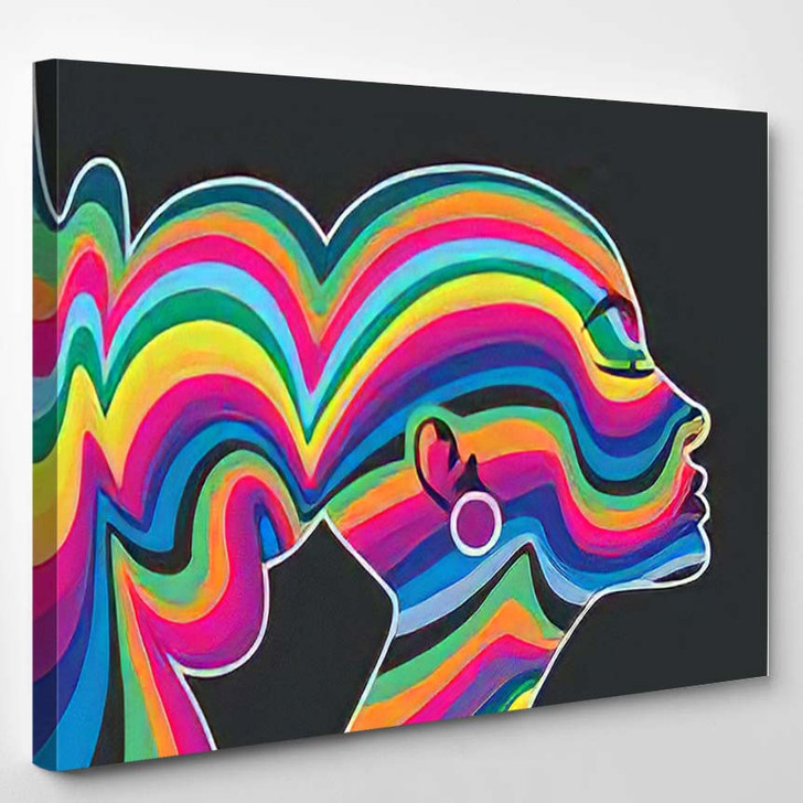 Young Woman Face Psychedelic Color Wavy - Psychedelic Canvas Art Print