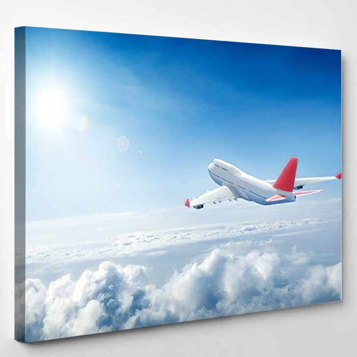 Airplane Flying Above Clouds 3D Rendering - Airplane Airport Canvas Art Print