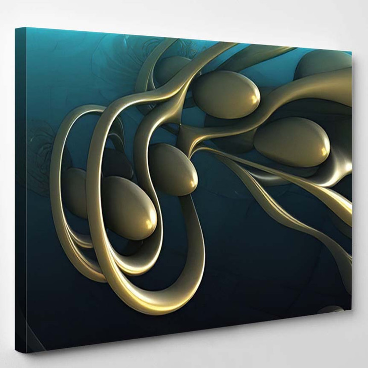 Abstract Background 3D Fantastic Gold Shapes 2 - Fantastic Canvas Art Print