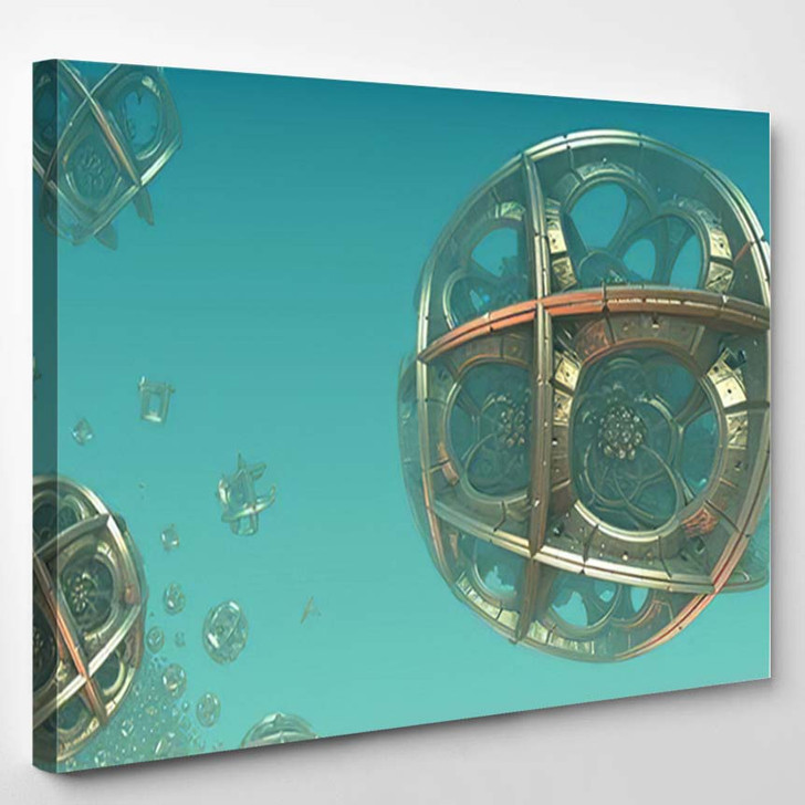 Abstract Background 3D Fantastic Gold Spheres 1 - Fantastic Canvas Art Print