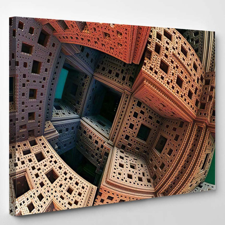 Abstract Background 3D Fantastic Gold Structures - Fantastic Canvas Art Print