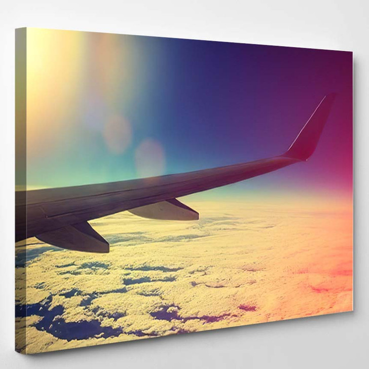 Airplane Flying Above Clouds Pink Sunrise - Airplane Airport Canvas Art Print
