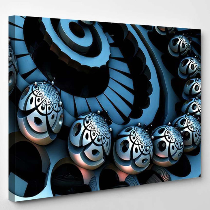 Abstract Background 3D Fantastic Silver Blue - Fantastic Canvas Art Print