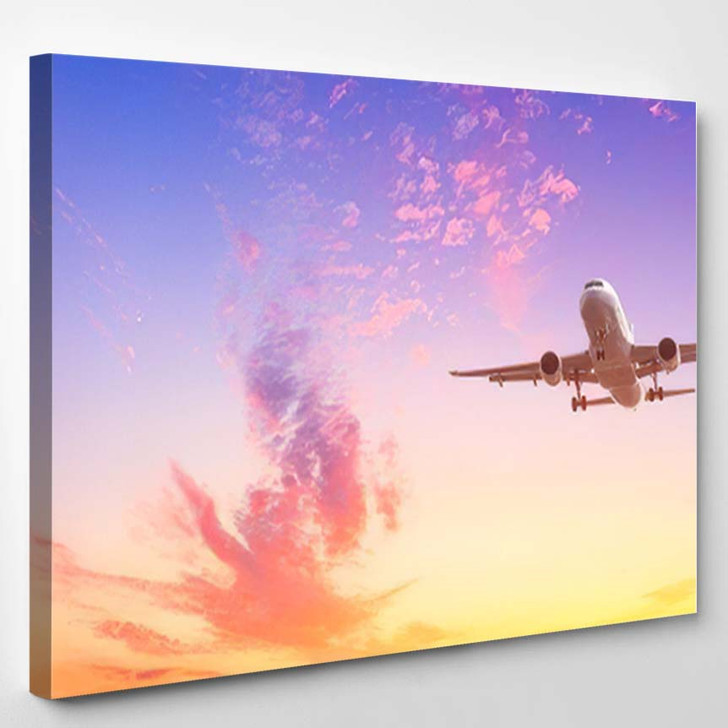 Airplane Flying Above Dramatic Clouds During - Airplane Airport Canvas Art Print