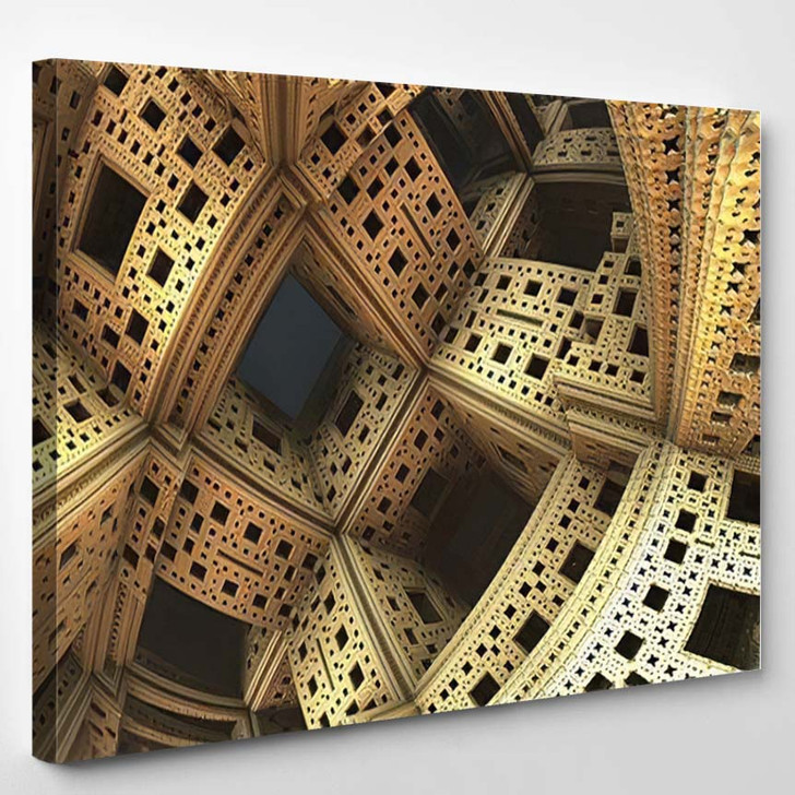 Abstract Background Fantastic 3D Gold Structures - Fantastic Canvas Art Print