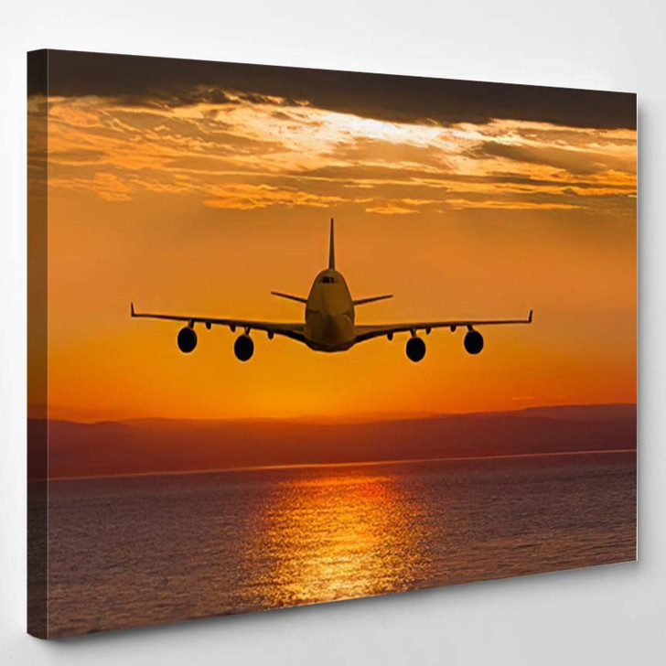 Airplane Flying Above Tropical Sea Sunset 1 - Airplane Airport Canvas Art Print