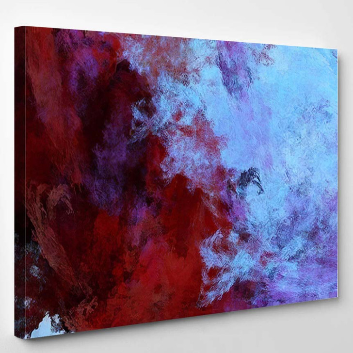 Abstract Blue Bloody Red Fantastic Clouds - Fantastic Canvas Art Print