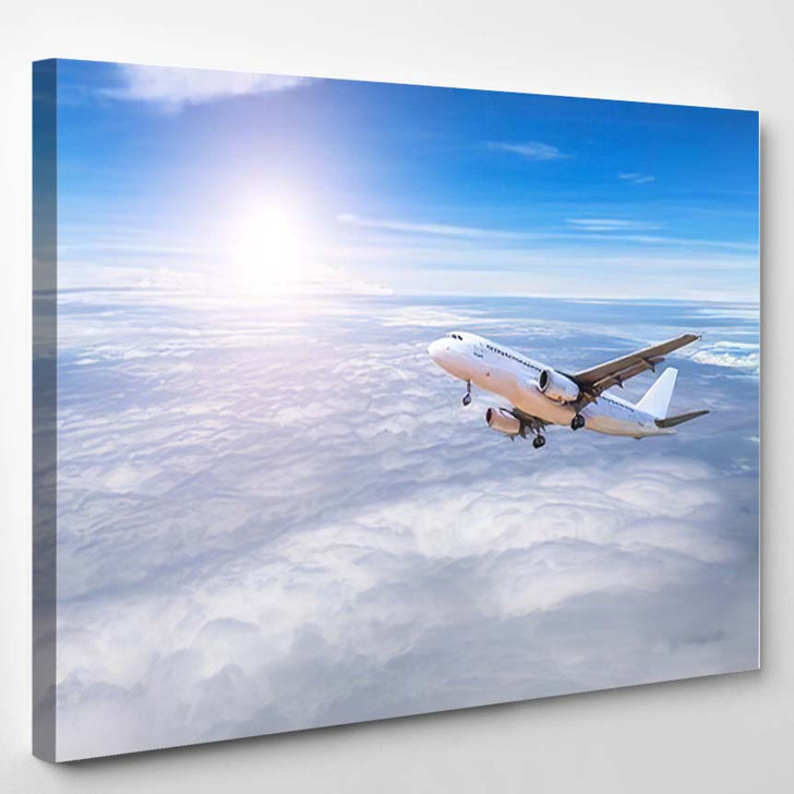 Airplane Flying Away Sky High Altitude - Airplane Airport Canvas Art Print
