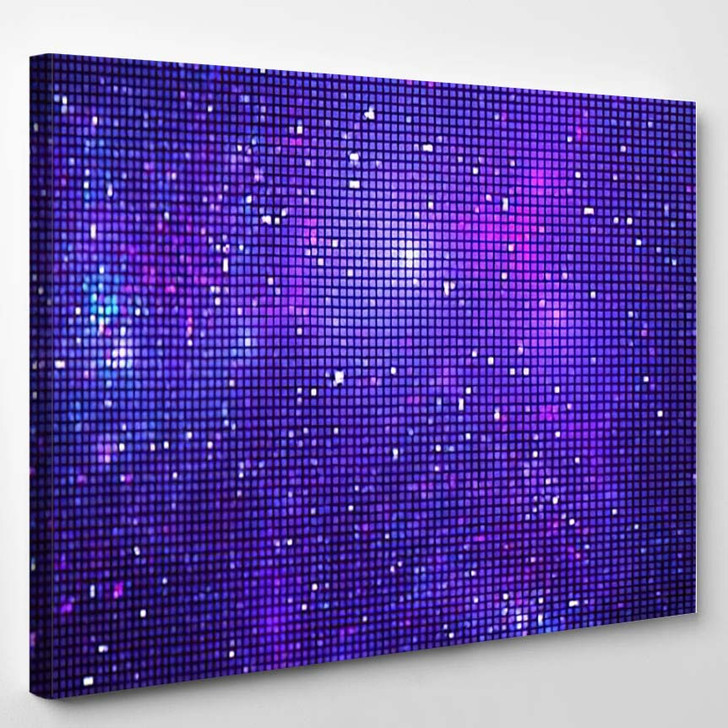 Abstract Glittering Geometric Texture Blue Purple - Fantastic Canvas Art Print