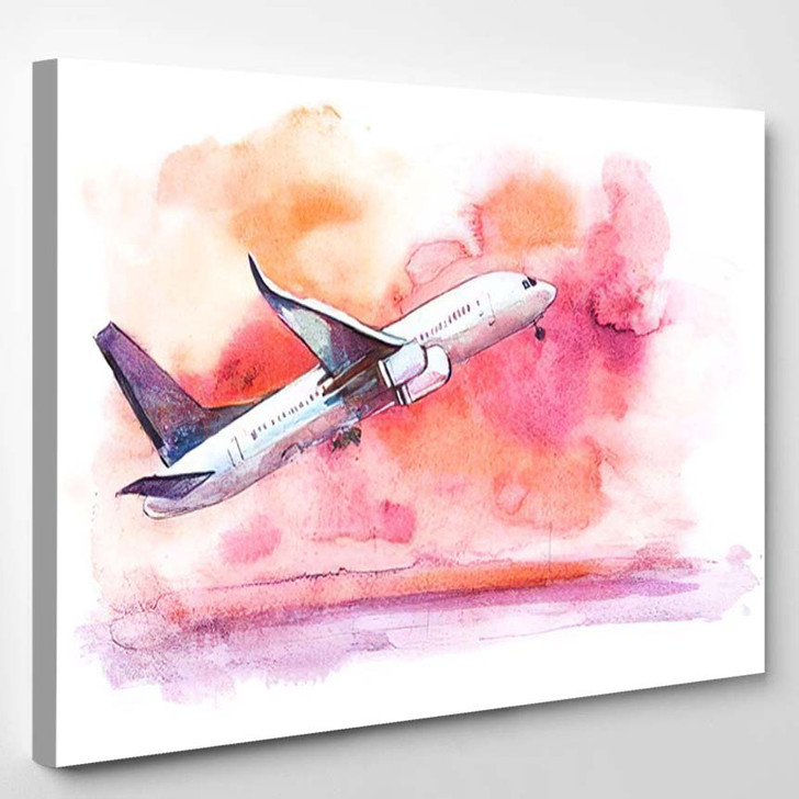 Airplane Flying Cloudy Sky Aircraft Takes - Airplane Airport Canvas Art Print