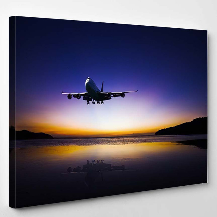 Airplane Flying On Tropical Colorful Evening - Airplane Airport Canvas Art Print