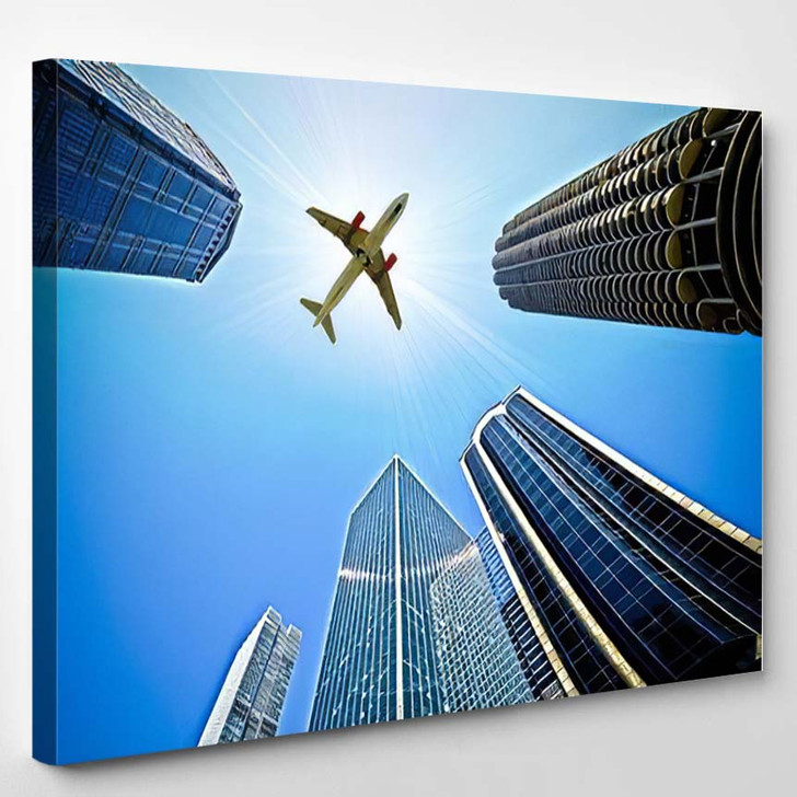Airplane Flying Over Buildings Chicago Usa - Airplane Airport Canvas Art Print
