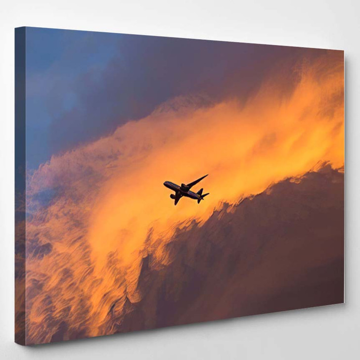 Airplane Flying Over Fantastic Sky North - Airplane Airport Canvas Art Print