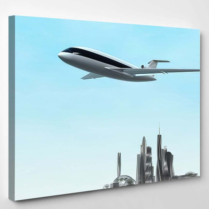 Airplane Flying Over Modern City 3D - Airplane Airport Canvas Art Print