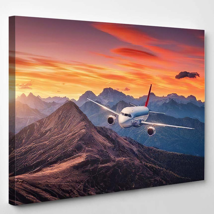 Airplane Flying Over Mountains Colorful Sunset - Airplane Airport Canvas Art Print