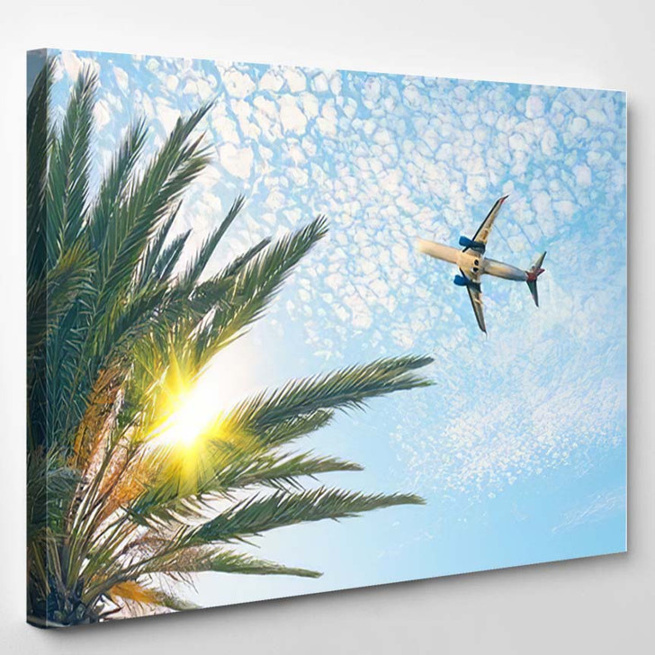 Airplane Flying Over Tropical Palm Tree 3 - Airplane Airport Canvas Art Print