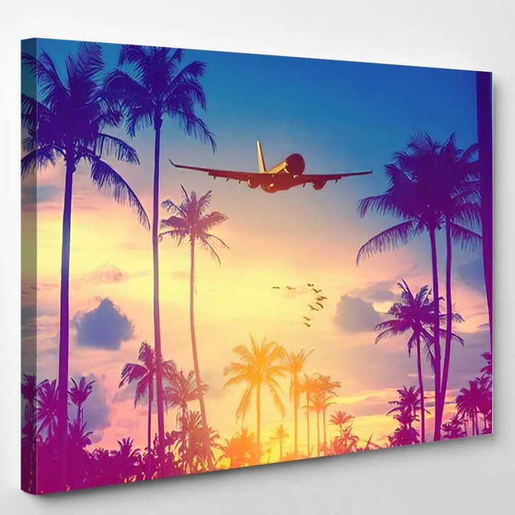 Airplane Flying Over Tropical Palm Tree 1 1 - Airplane Airport Canvas Art Print