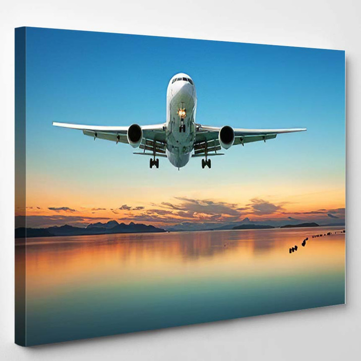 Airplane Flying Over Tropical Sea Beautiful 1 - Airplane Airport Canvas Art Print