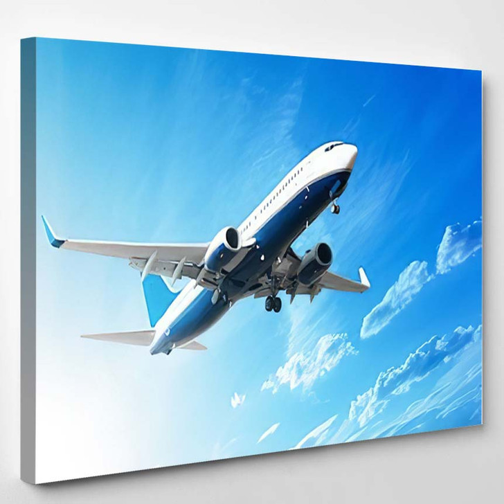 Airplane Flying Sky 4 - Airplane Airport Canvas Art Print