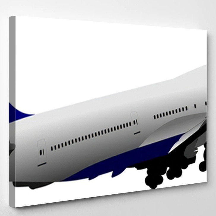 Airplane Fright Vector 3D Illustration - Airplane Airport Canvas Art Print