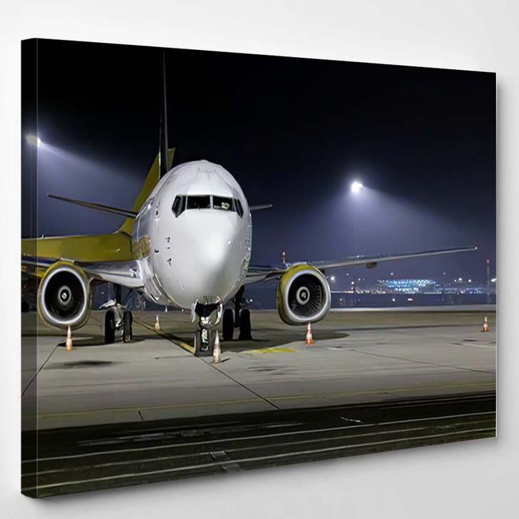 Airplane Front Close 1 - Airplane Airport Canvas Art Print
