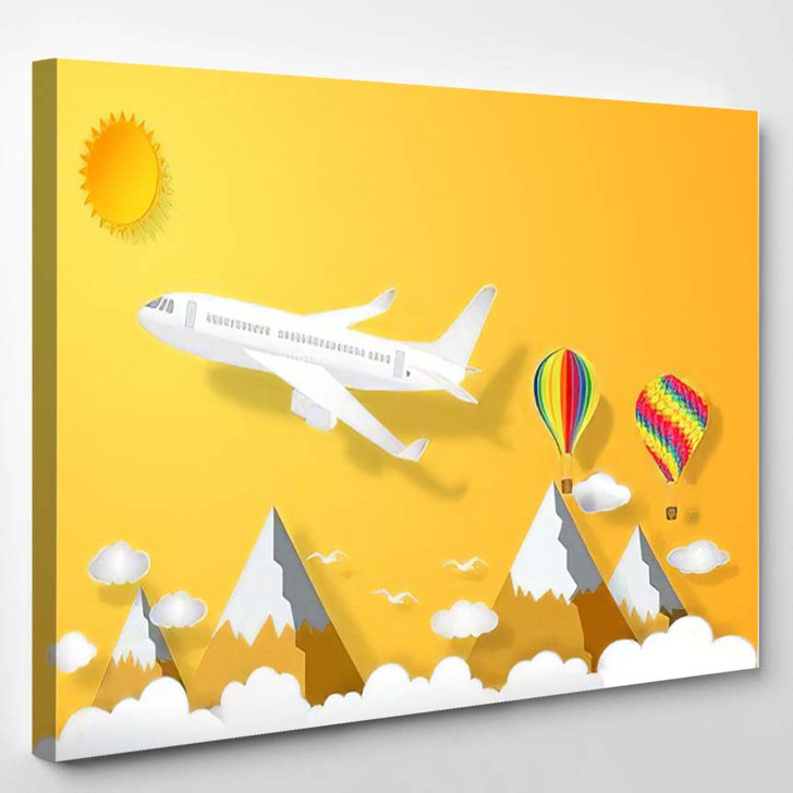 Airplane Hot Air Balloons Flying Under - Airplane Airport Canvas Art Print