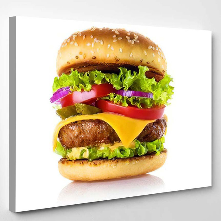 Delicious Burger Isolated On White Background - Fantastic Canvas Art Print
