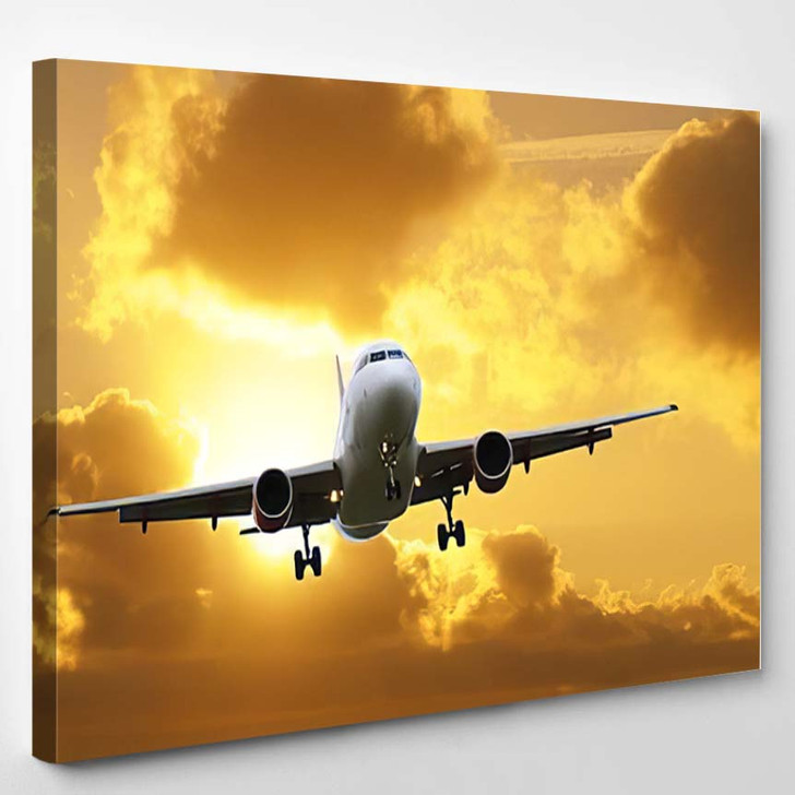 Airplane Landing Over Clouds Sunrise - Airplane Airport Canvas Art Print