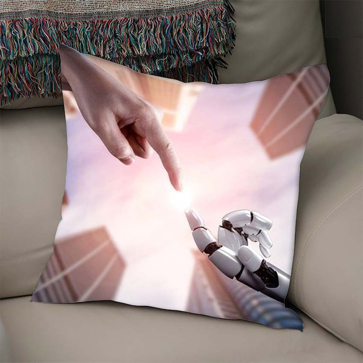 3D Rendering Artificial Intelligence Ai Research - Creation of Adam Throw Pillow