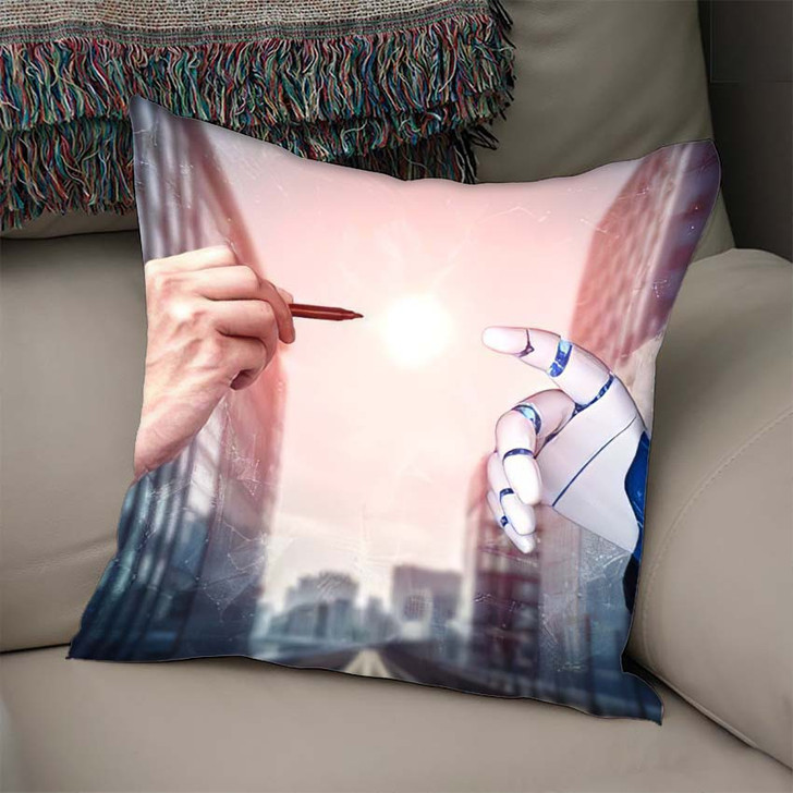 3D Rendering Artificial Intelligence Ai Research 15 - Creation of Adam Throw Pillow