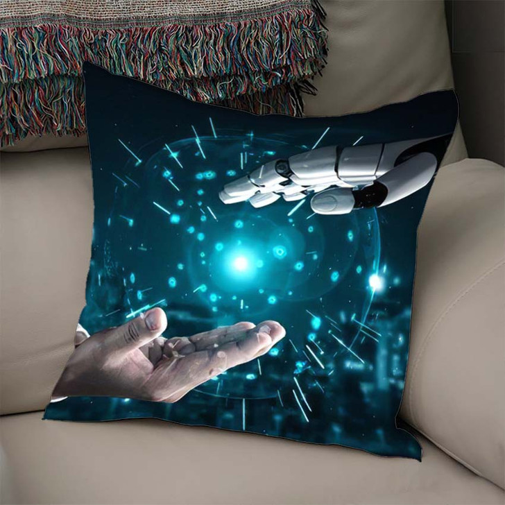 3D Rendering Artificial Intelligence Ai Research 16 - Creation of Adam Throw Pillow