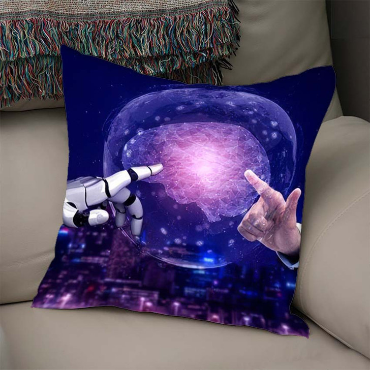 3D Rendering Artificial Intelligence Ai Research 20 - Creation of Adam Throw Pillow