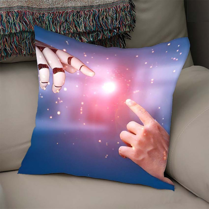 3D Rendering Artificial Intelligence Ai Research 21 - Creation of Adam Throw Pillow