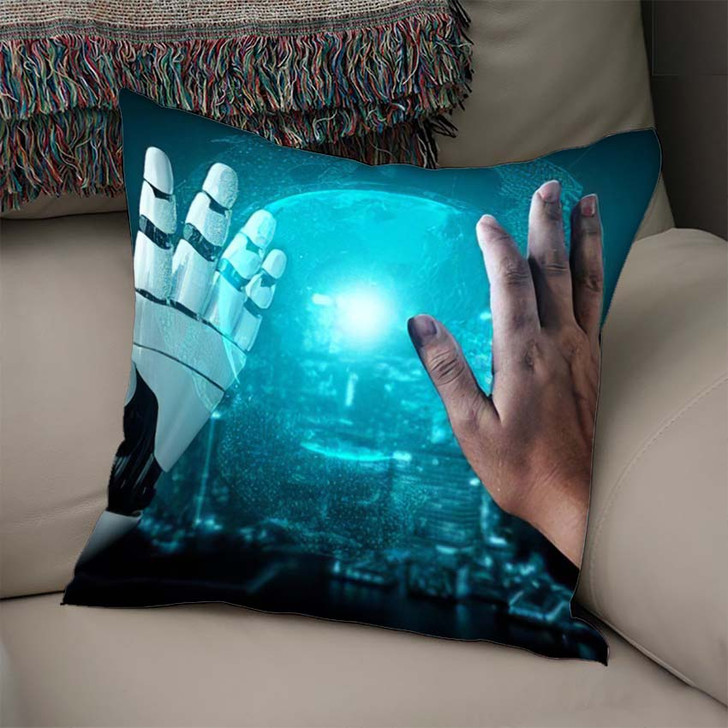 3D Rendering Artificial Intelligence Ai Research 25 - Creation of Adam Throw Pillow