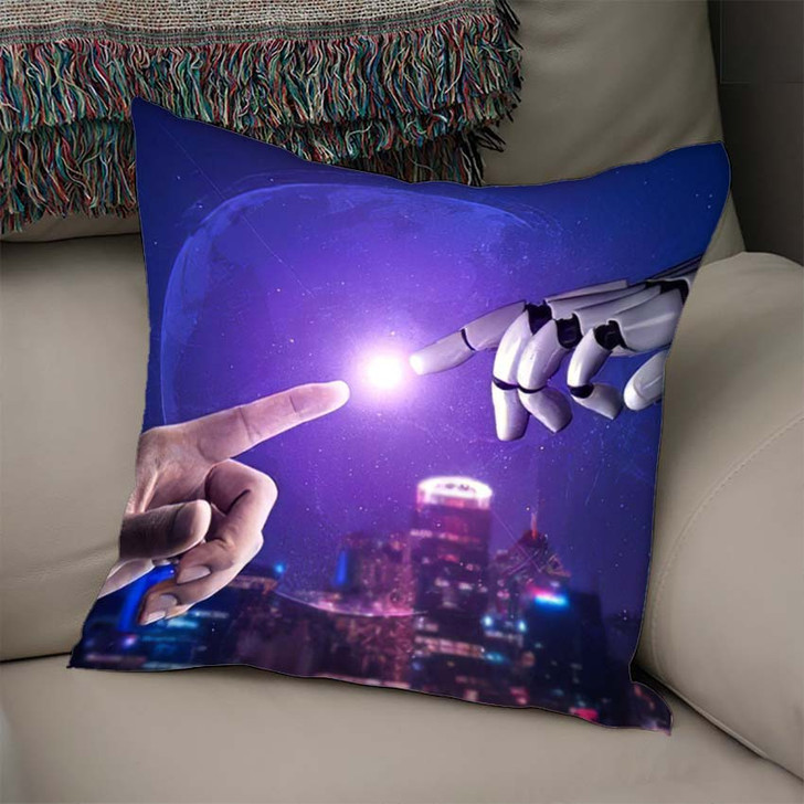 3D Rendering Artificial Intelligence Ai Research 44 - Creation of Adam Throw Pillow
