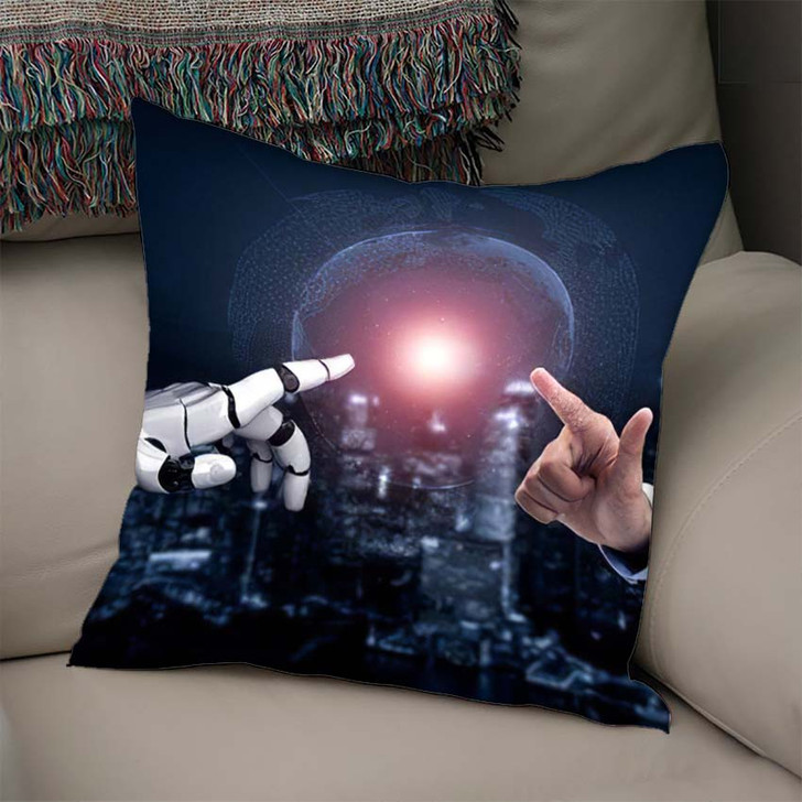 3D Rendering Artificial Intelligence Ai Research 45 - Creation of Adam Throw Pillow