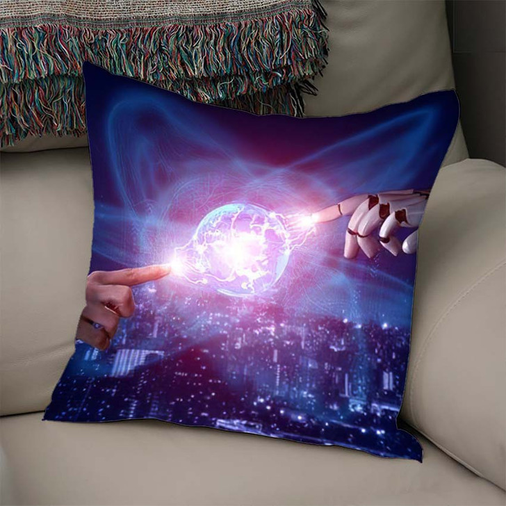 3D Rendering Artificial Intelligence Ai Research 46 - Creation of Adam Throw Pillow