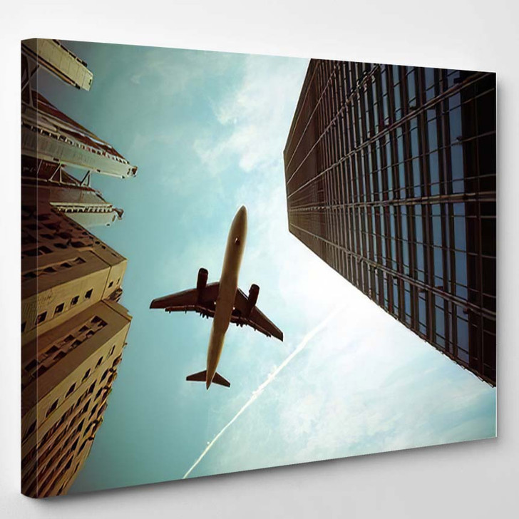 Airplane Modern Buildings Dramatic Skyabstract Cityscape - Airplane Airport Canvas Art Print