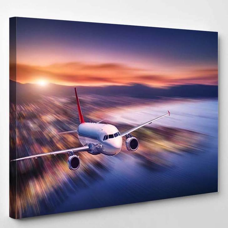 Airplane Motion Blur Effect Flying Over - Airplane Airport Canvas Art Print