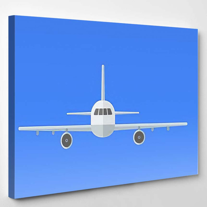 Airplane On Blue Background Plane Flying - Airplane Airport Canvas Art Print
